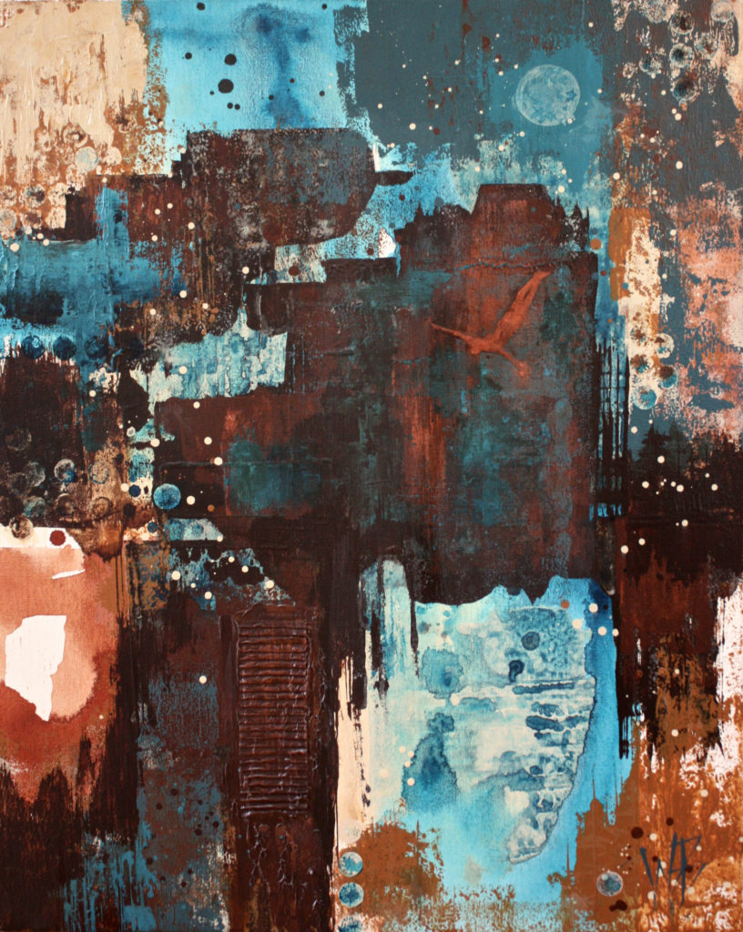abstract; acrylic on gallery-wrap canvas