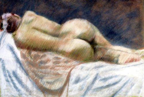 pastel on paper; female figure